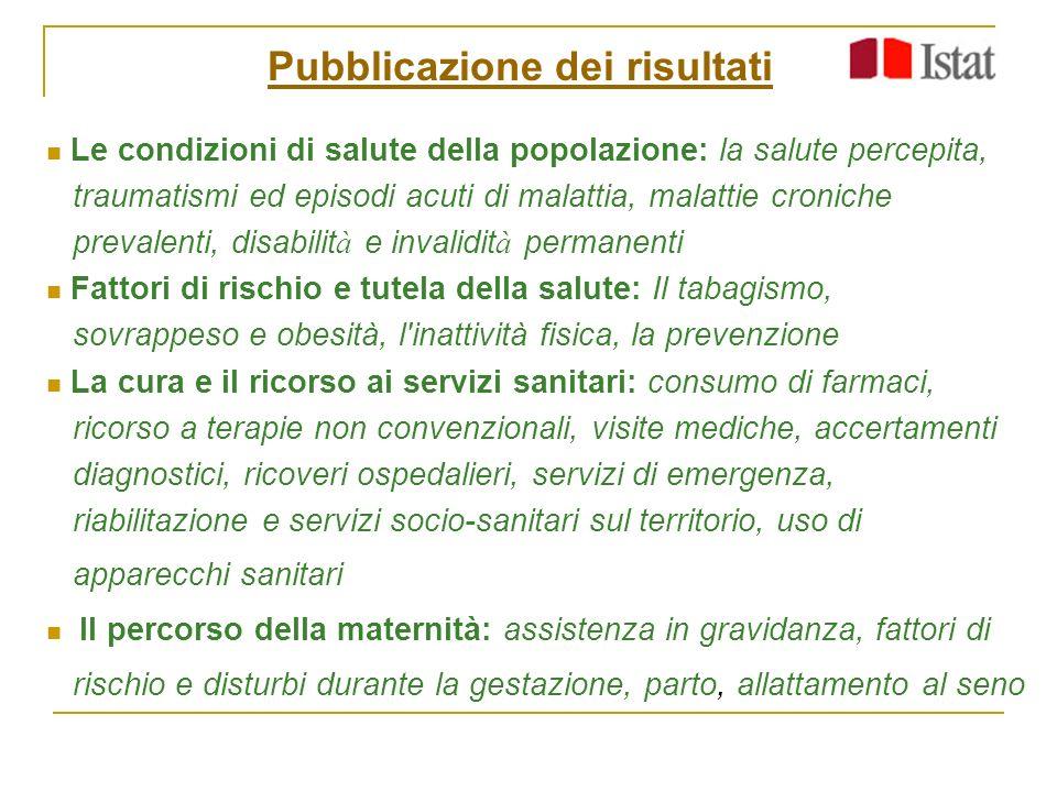 Pubblicazione dei risultati Le condizioni di salute della popolazione: la salute percepita, traumatismi ed episodi acuti di malattia, malattie cronich