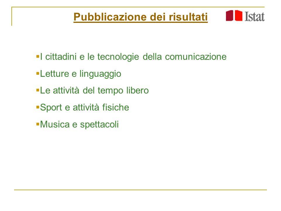 Pubblicazione dei risultati I cittadini e le tecnologie della comunicazione Letture e linguaggio Le attività del tempo libero Sport e attività fisiche