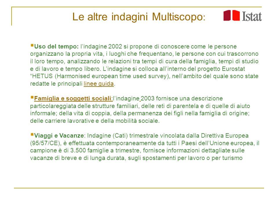 Le altre indagini Multiscopo : Uso del tempo: lindagine 2002 si propone di conoscere come le persone organizzano la propria vita, i luoghi che frequen