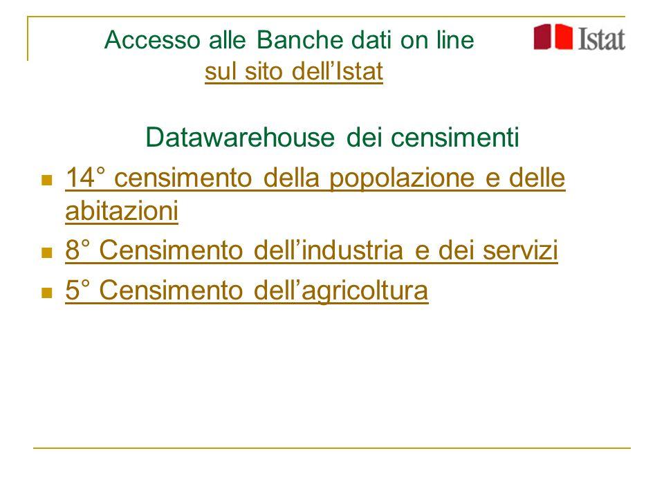 Accesso alle Banche dati on line sul sito dellIstatsul sito dellIstat Datawarehouse dei censimenti 14° censimento della popolazione e delle abitazioni