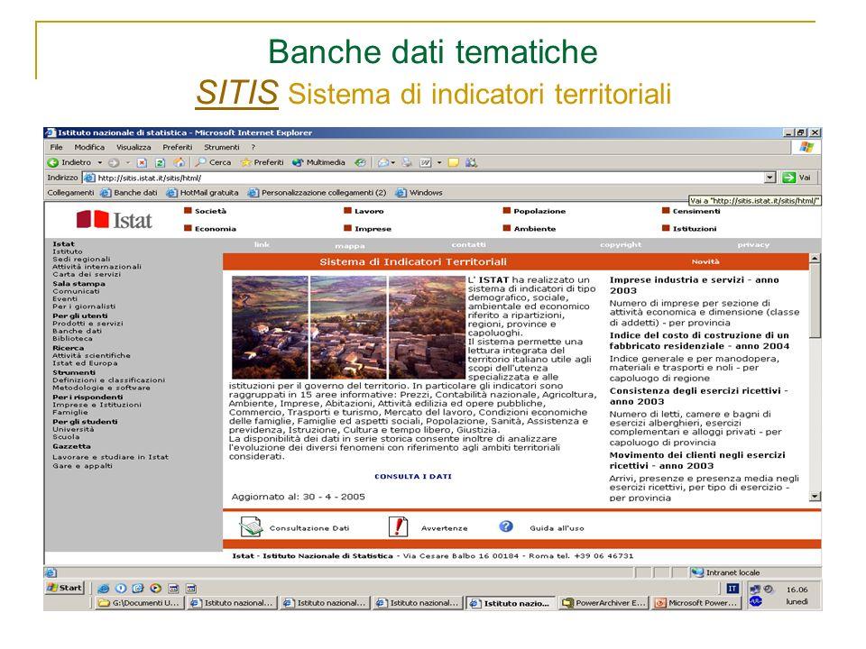 Banche dati tematiche SITIS Sistema di indicatori territoriali SITIS