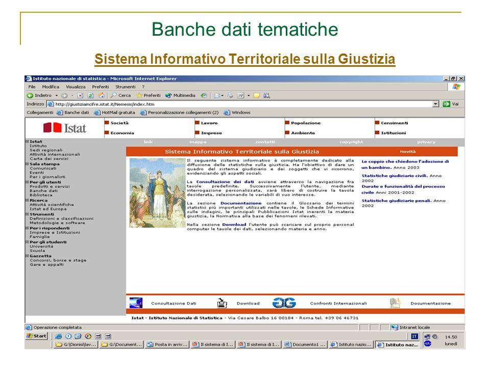 Banche dati tematiche Sistema Informativo Territoriale sulla Giustizia Sistema Informativo Territoriale sulla Giustizia