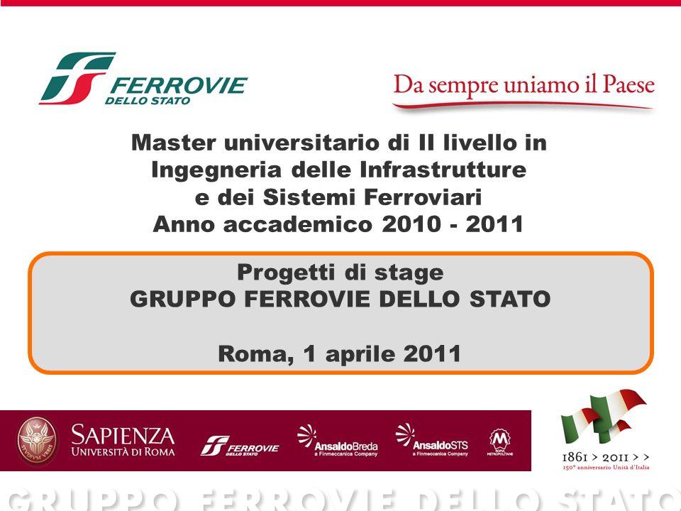 Master universitario di II livello in Ingegneria delle Infrastrutture e dei Sistemi Ferroviari Anno accademico 2010 - 2011 Progetti di stage GRUPPO FE