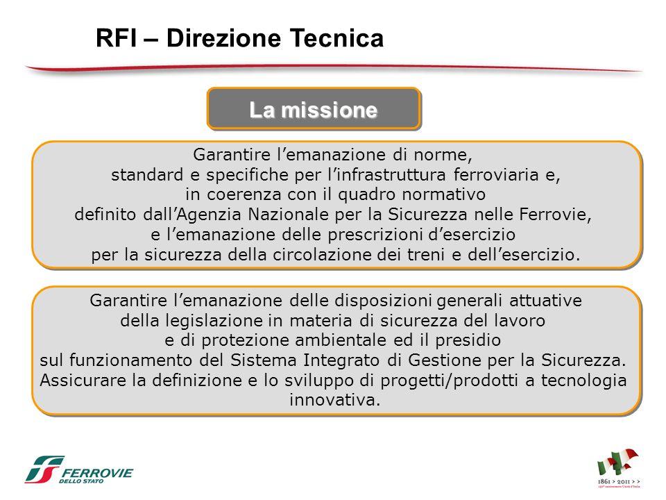 La missione RFI – Direzione Tecnica Garantire lemanazione delle disposizioni generali attuative della legislazione in materia di sicurezza del lavoro