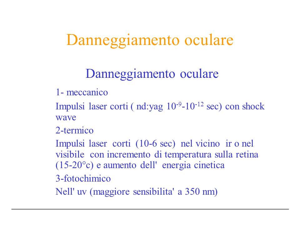 Danneggiamento oculare 1- meccanico Impulsi laser corti ( nd:yag 10 -9 -10 -12 sec) con shock wave 2-termico Impulsi laser corti (10-6 sec) nel vicino