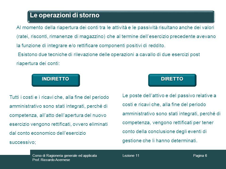 Le operazioni di storno Pagina 6 Al momento della riapertura dei conti tra le attività e le passività risultano anche dei valori (ratei, risconti, rim