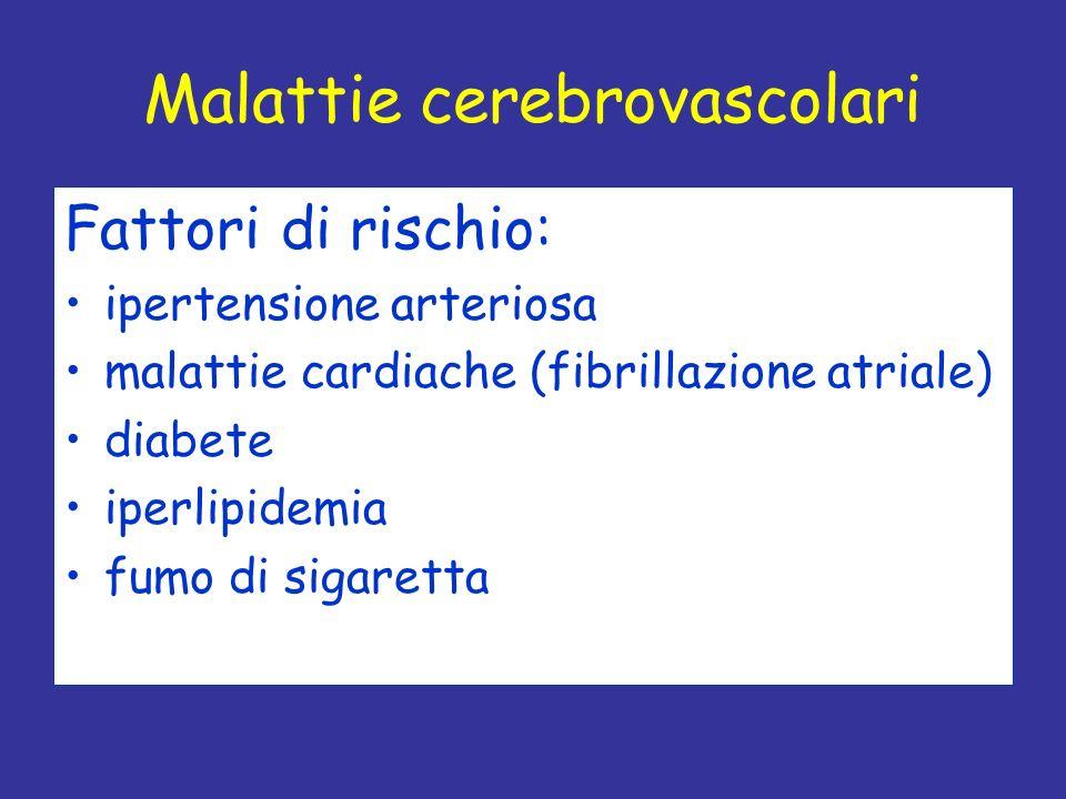 Fattori di rischio: ipertensione arteriosa malattie cardiache (fibrillazione atriale) diabete iperlipidemia fumo di sigaretta Malattie cerebrovascolar