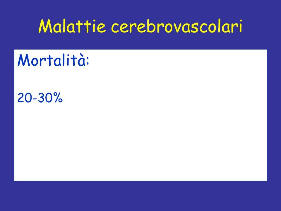 Mortalità: 20-30% Malattie cerebrovascolari