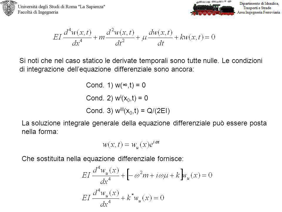 Cond. 1) w(,t) = 0 Cond. 2) w I (x 0,t) = 0 Cond. 3) w III (x 0,t) = Q/(2EI) Si noti che nel caso statico le derivate temporali sono tutte nulle. Le c