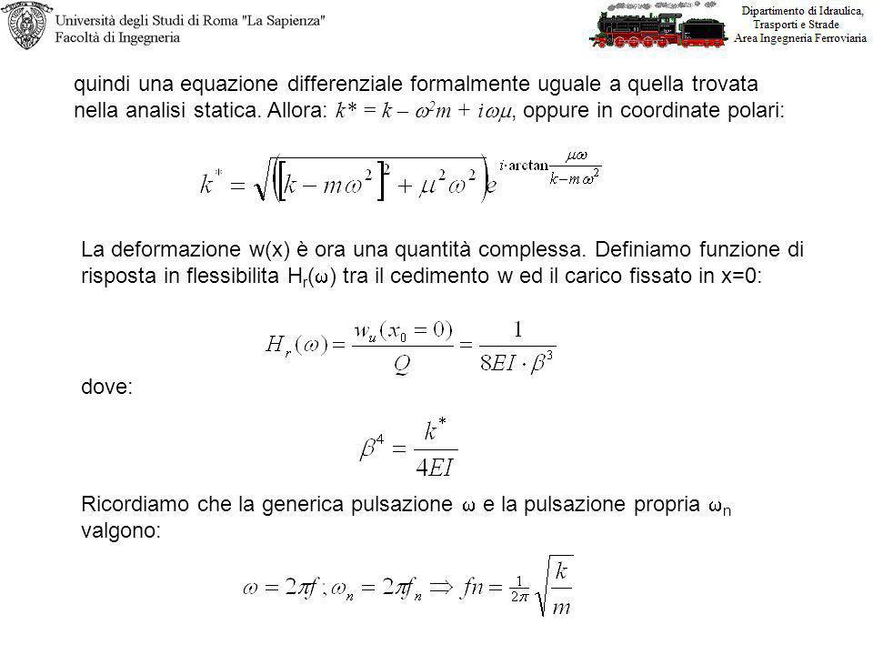 quindi una equazione differenziale formalmente uguale a quella trovata nella analisi statica.