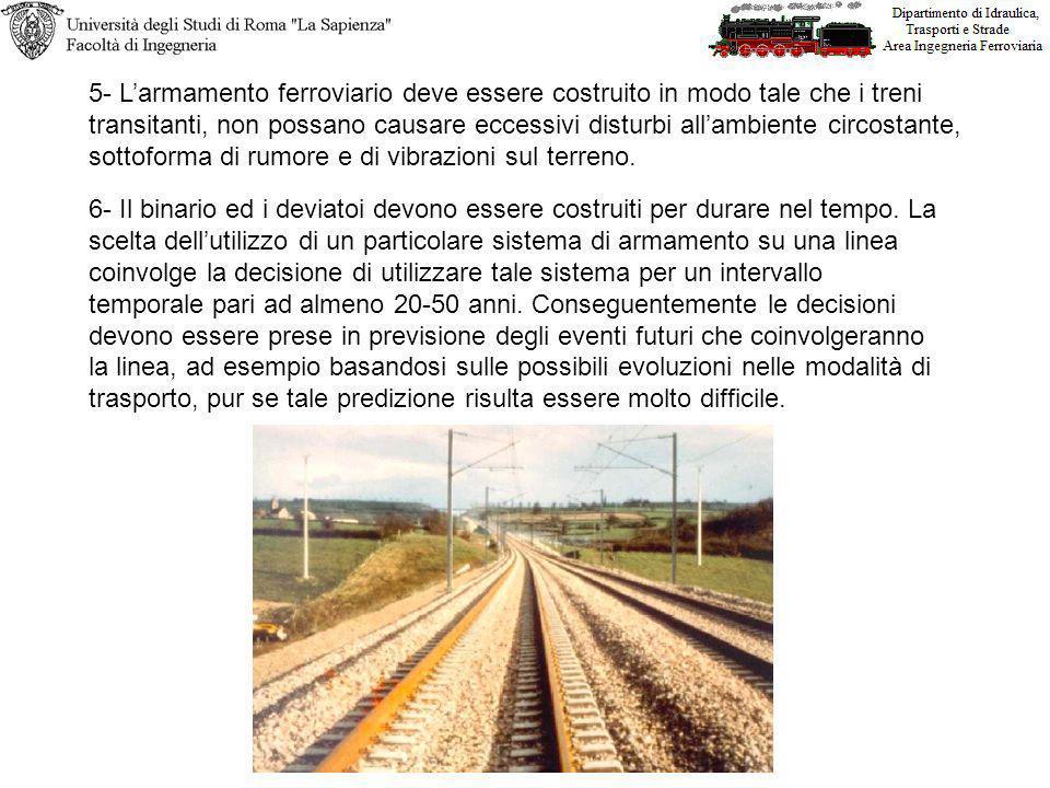 5- Larmamento ferroviario deve essere costruito in modo tale che i treni transitanti, non possano causare eccessivi disturbi allambiente circostante, sottoforma di rumore e di vibrazioni sul terreno.