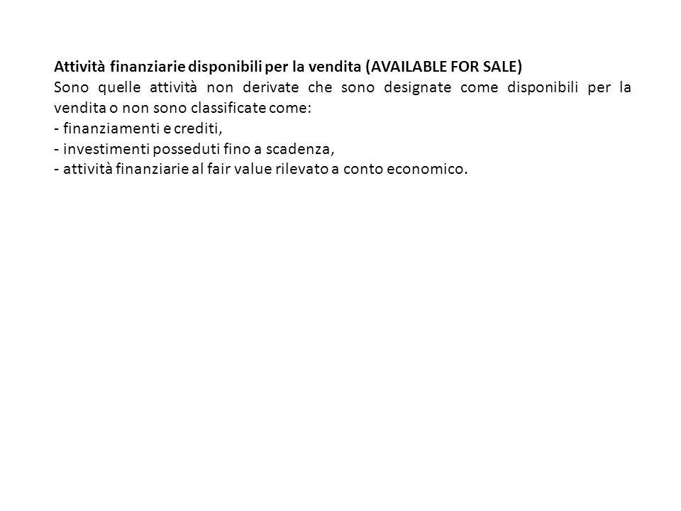 Attività finanziarie disponibili per la vendita (AVAILABLE FOR SALE) Sono quelle attività non derivate che sono designate come disponibili per la vend
