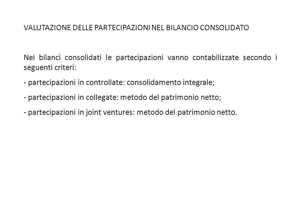 VALUTAZIONE DELLE PARTECIPAZIONI NEL BILANCIO CONSOLIDATO Nei bilanci consolidati le partecipazioni vanno contabilizzate secondo i seguenti criteri: -