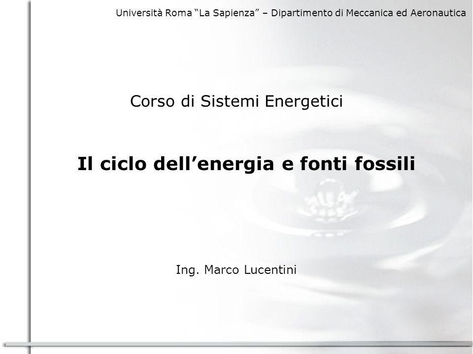 Università Roma La Sapienza – Dipartimento di Meccanica ed Aeronautica Corso di Sistemi Energetici Il ciclo dellenergia e fonti fossili Ing.