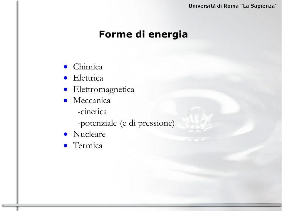 Università di Roma La Sapienza Forme di energia Chimica Elettrica Elettromagnetica Meccanica -cinetica -potenziale (e di pressione) Nucleare Termica