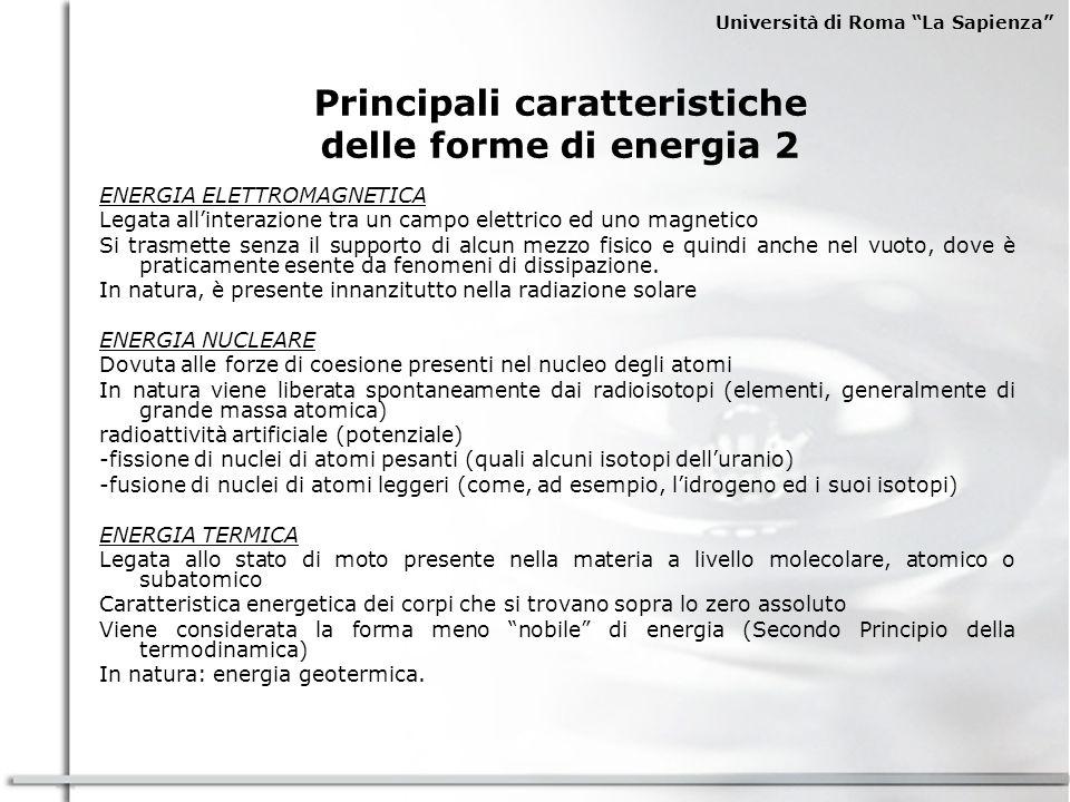 Università di Roma La Sapienza LE FONTI ENERGETICHE SECONDARIE FONTI SECONDARIE DI ENERGIA FONTI DI ENERGIA COMMERCIALI (FEC) ENERGIA NUCLEARE FONTI DI ENERGIA NON COMMERCIALI (FENC-FENR) DERIVATI DEL CARBONE DERIVATI DEL PETROLIO COMBUSTIBILI PER LA FISSIONE COMBUSTIBILI PER LA FUSIONE USO RAZIONALE DELLENERGIA RISPARMIO ENERGETICO DERIVATI DAGLI SCISTI BITUMINOSI DERIVATI DALLE SABBIE PETROLIFERE COMBUSTIBILI SINTETICI COMBUSTIBILI DA RIFIUTI IDROGENO BIOGAS FONTI PRIMARIE DI ENERGIA FONTI SECONDARIE USI FINALI (Agricoli, Domestici e Servizi, Industriali, Trasporti) ENERGIA ELETTRICA Legenda: FEC:Fonti Energetiche Commerciali FENC:Fonti Energetiche Non Commerciali FENR:Fonti Energetiche Nuove e Rinnovabili