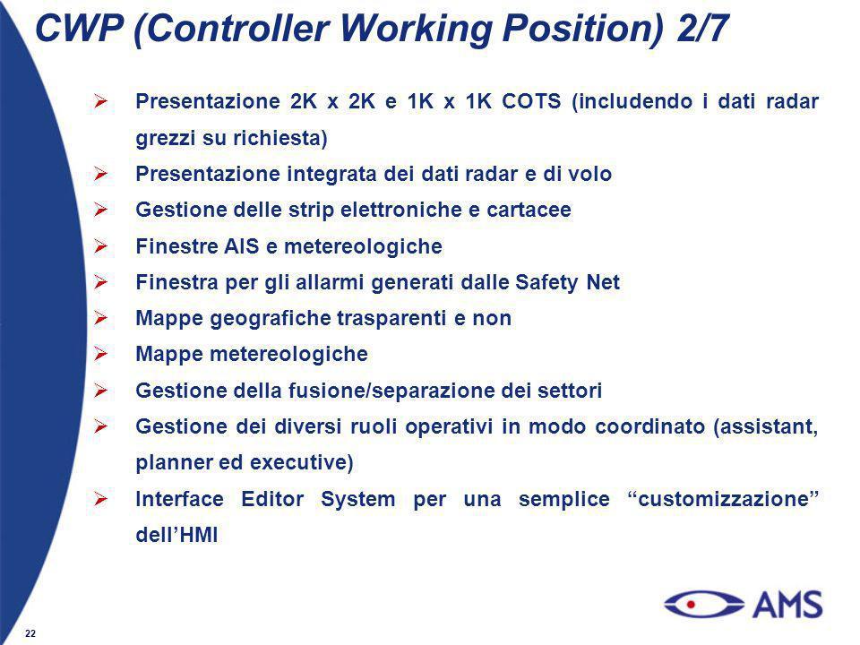 22 Presentazione 2K x 2K e 1K x 1K COTS (includendo i dati radar grezzi su richiesta) Presentazione integrata dei dati radar e di volo Gestione delle