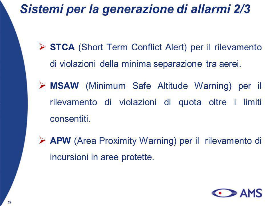 29 STCA (Short Term Conflict Alert) per il rilevamento di violazioni della minima separazione tra aerei. MSAW (Minimum Safe Altitude Warning) per il r