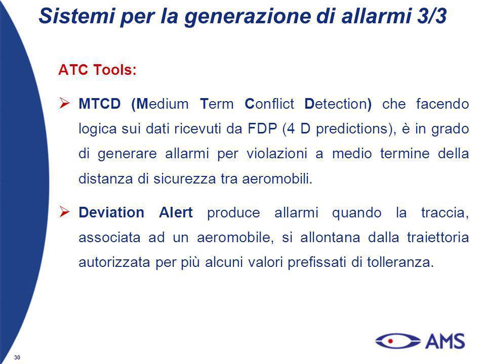 30 ATC Tools: MTCD (Medium Term Conflict Detection) che facendo logica sui dati ricevuti da FDP (4 D predictions), è in grado di generare allarmi per