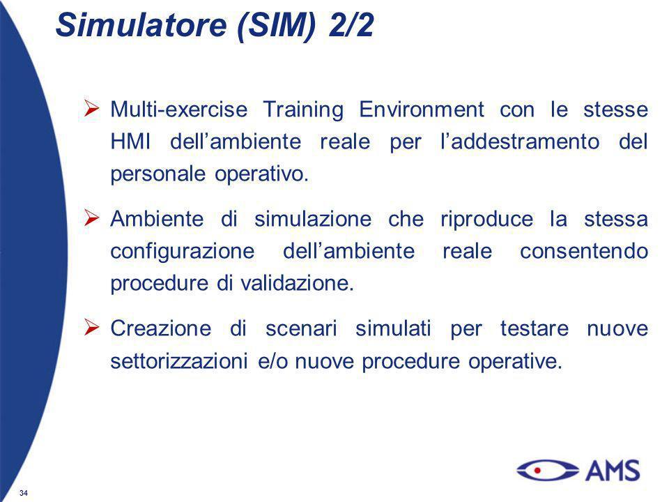34 Simulatore (SIM) 2/2 Multi-exercise Training Environment con le stesse HMI dellambiente reale per laddestramento del personale operativo. Ambiente