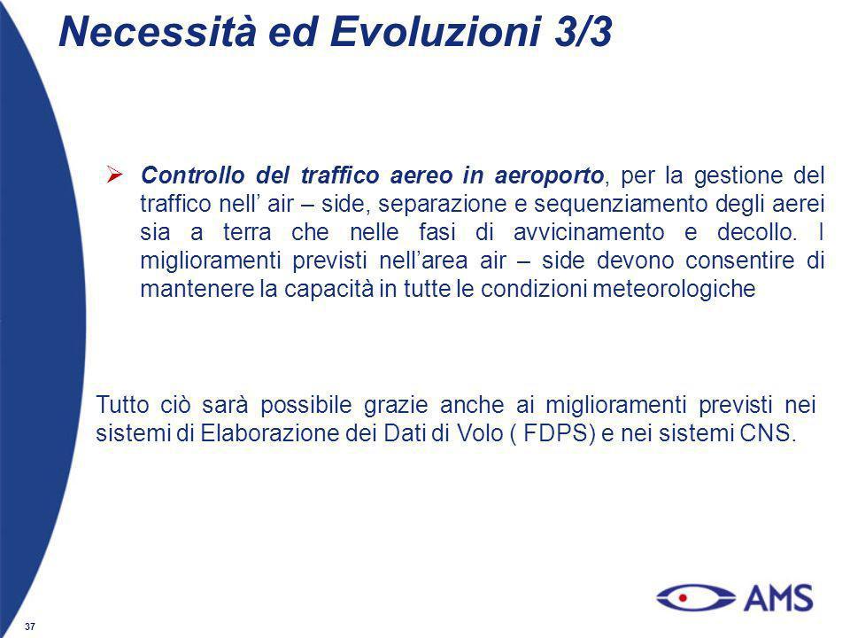 37 Controllo del traffico aereo in aeroporto, per la gestione del traffico nell air – side, separazione e sequenziamento degli aerei sia a terra che n