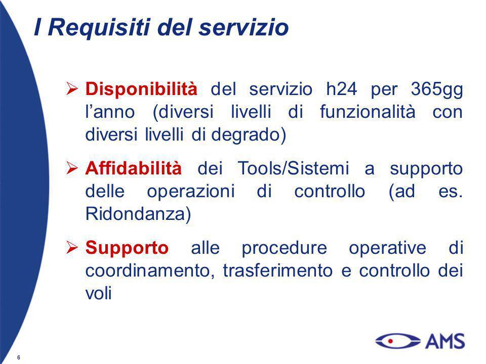 6 I Requisiti del servizio Disponibilità del servizio h24 per 365gg lanno (diversi livelli di funzionalità con diversi livelli di degrado) Affidabilit