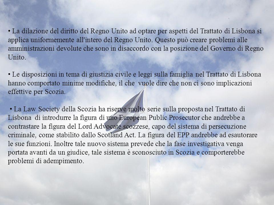 La dilazione del diritto del Regno Unito ad optare per aspetti del Trattato di Lisbona si applica uniformemente all'intero del Regno Unito. Questo può