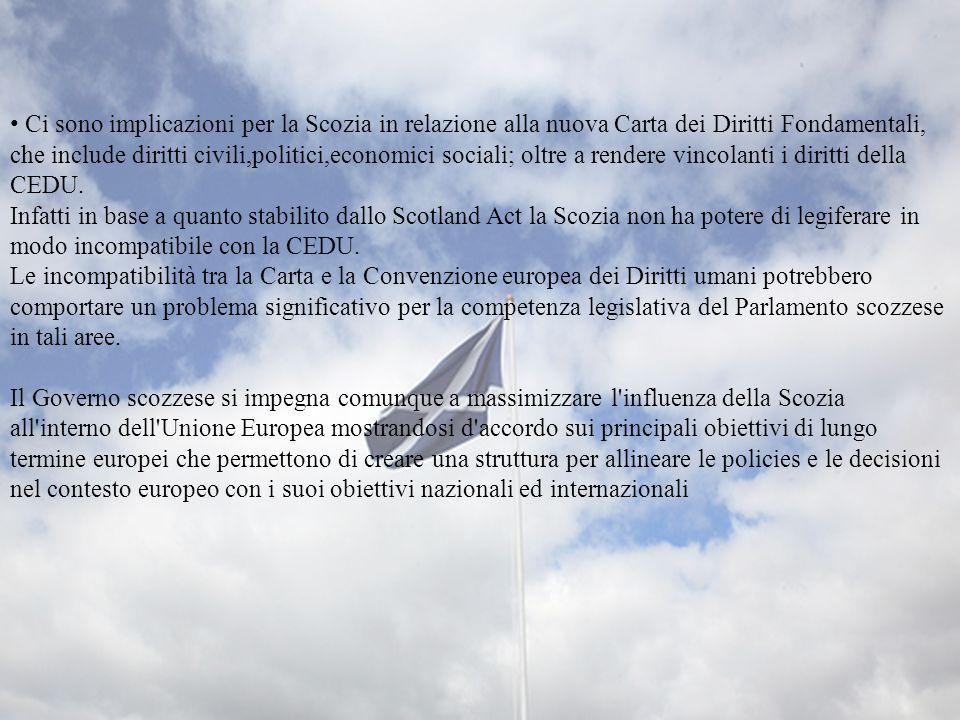 Ci sono implicazioni per la Scozia in relazione alla nuova Carta dei Diritti Fondamentali, che include diritti civili,politici,economici sociali; oltr