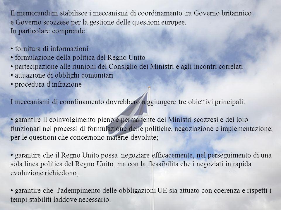 Il memorandum stabilisce i meccanismi di coordinamento tra Governo britannico e Governo scozzese per la gestione delle questioni europee. In particola