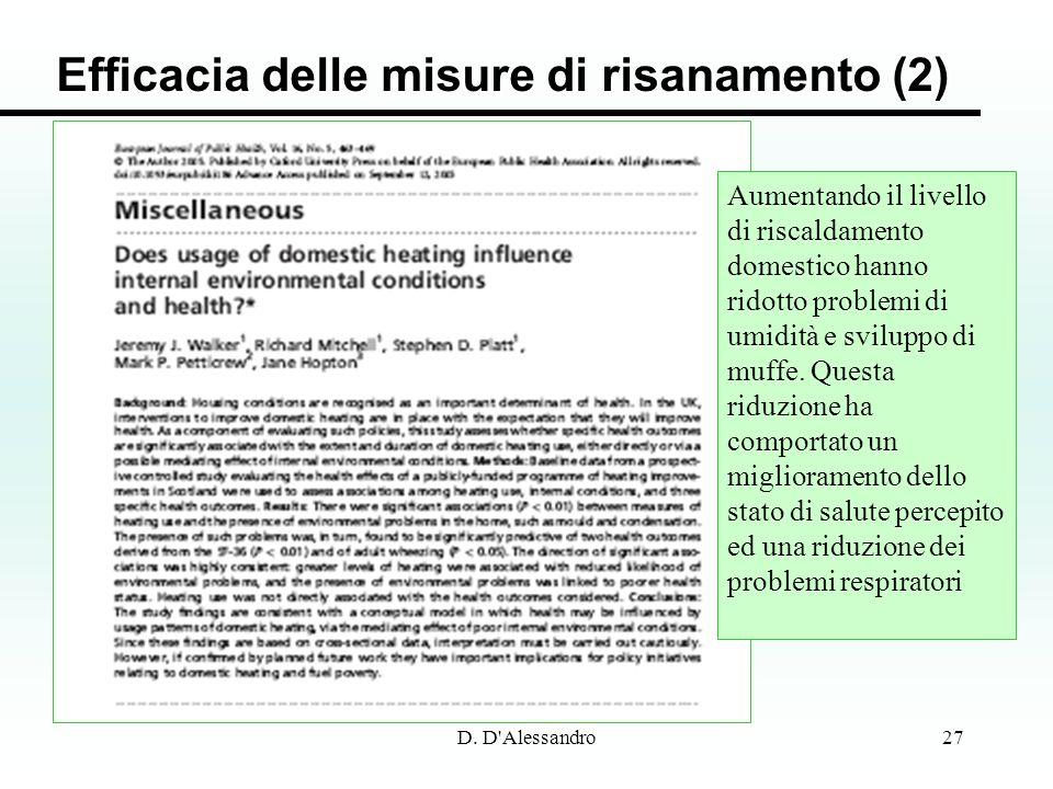 D. D'Alessandro27 Efficacia delle misure di risanamento (2) Aumentando il livello di riscaldamento domestico hanno ridotto problemi di umidità e svilu