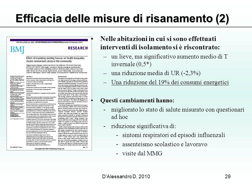 Efficacia delle misure di risanamento (2) 29D'Alessandro D, 2010 Nelle abitazioni in cui si sono effettuati interventi di isolamento si è riscontrato: