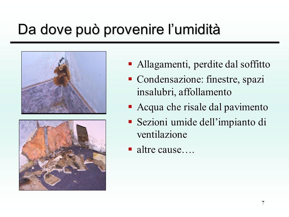8 Tipi di umidità Dovuto alla presenza di acqua allinterno delle murature che può ritrovarsi come: umidità da risalita (capillare) - da imbibizione umidità da risalita (capillare) - da imbibizione (cause: da falda freatica, dispersione di impianti idrici, ecc) (cause: da falda freatica, dispersione di impianti idrici, ecc) umidità da infiltrazione – igroscopica umidità da infiltrazione – igroscopica (cause: infiltrazione diretta di acqua piovana o provenienti dal suolo) (cause: infiltrazione diretta di acqua piovana o provenienti dal suolo) umidità da condensazione umidità da condensazione (cause: cattivo isolamento, insufficiente riscaldamento, eccessiva produzione di umidità interna (cause: cattivo isolamento, insufficiente riscaldamento, eccessiva produzione di umidità interna umidità da combinazione chimica – si forma durante la formazione della calce idrata in carbonato di calcio umidità da combinazione chimica – si forma durante la formazione della calce idrata in carbonato di calcio (cause: locali dei locali appena costruiti) (cause: locali dei locali appena costruiti)