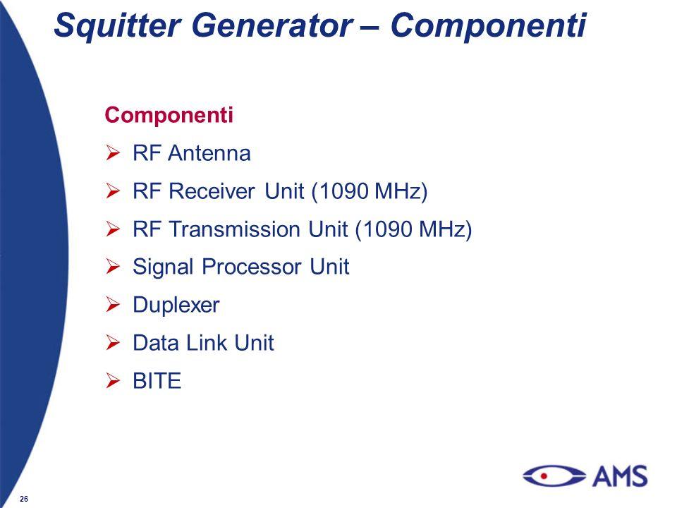 26 Squitter Generator – Componenti Componenti RF Antenna RF Receiver Unit (1090 MHz) RF Transmission Unit (1090 MHz) Signal Processor Unit Duplexer Da