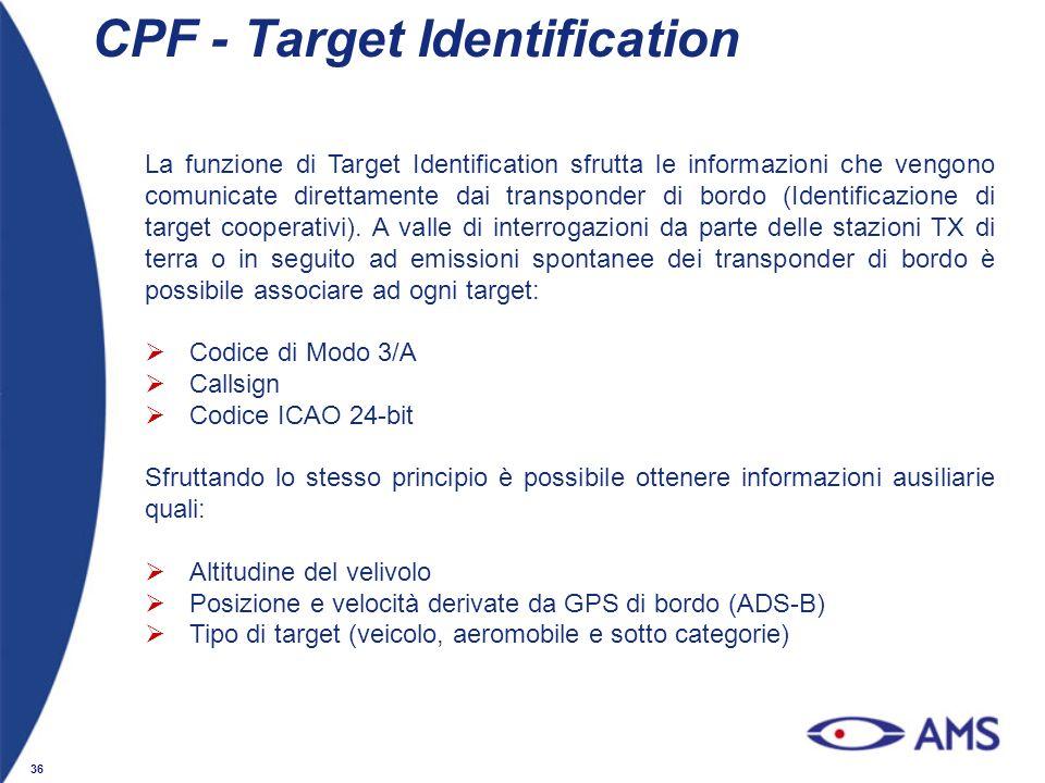 36 CPF - Target Identification La funzione di Target Identification sfrutta le informazioni che vengono comunicate direttamente dai transponder di bor