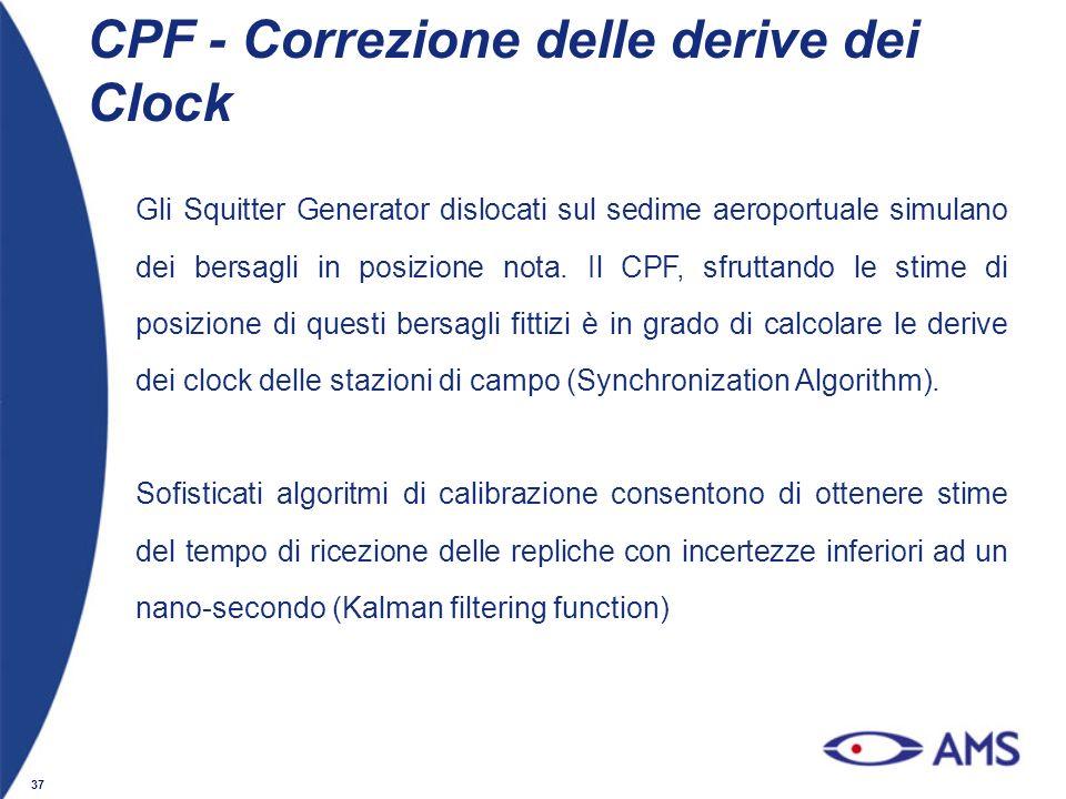 37 CPF - Correzione delle derive dei Clock Gli Squitter Generator dislocati sul sedime aeroportuale simulano dei bersagli in posizione nota. Il CPF, s