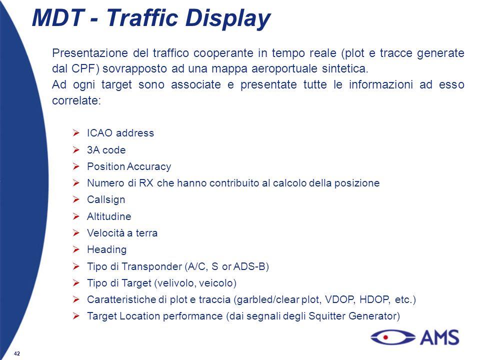 42 MDT - Traffic Display Presentazione del traffico cooperante in tempo reale (plot e tracce generate dal CPF) sovrapposto ad una mappa aeroportuale s