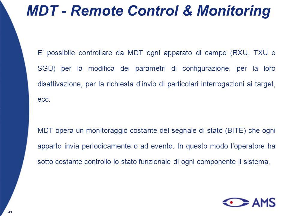 43 MDT - Remote Control & Monitoring E possibile controllare da MDT ogni apparato di campo (RXU, TXU e SGU) per la modifica dei parametri di configura