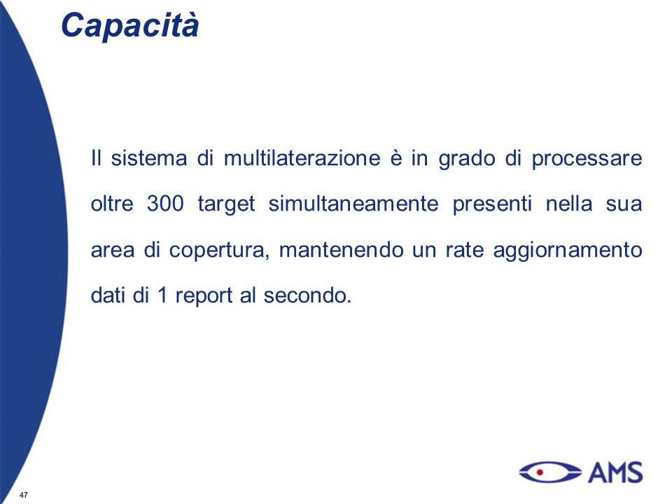 47 Capacità Il sistema di multilaterazione è in grado di processare oltre 300 target simultaneamente presenti nella sua area di copertura, mantenendo