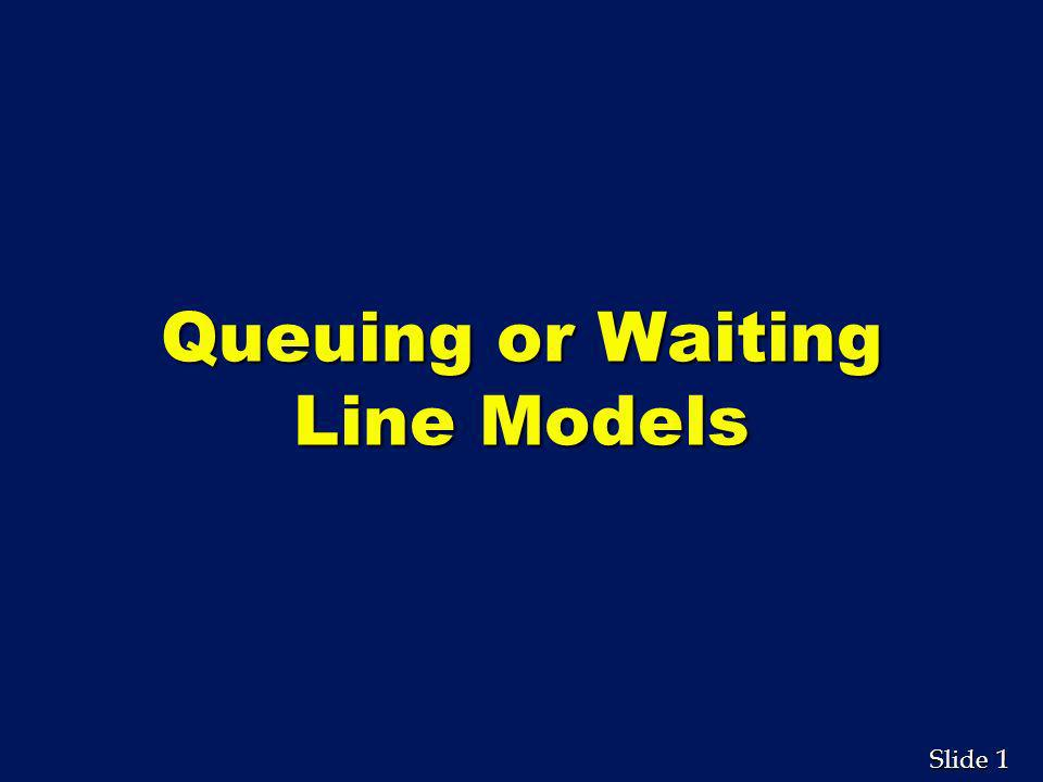 22 Slide M/M/1 System Average number of people or units waiting for service Average time a person or unit spends in the queue Average number of people or units in the system Average time a unit spends in the system