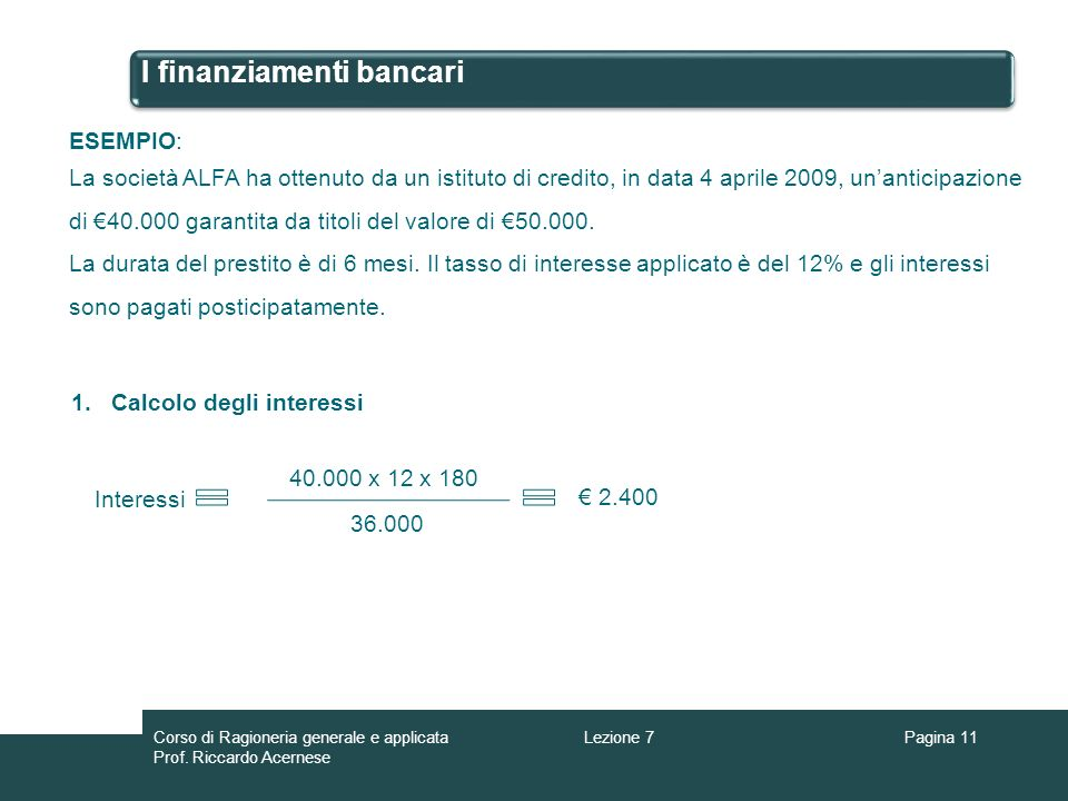 I finanziamenti bancari Pagina 11 ESEMPIO: La società ALFA ha ottenuto da un istituto di credito, in data 4 aprile 2009, unanticipazione di 40.000 gar
