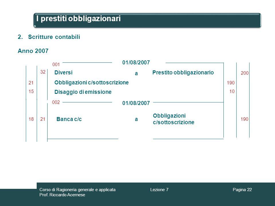 I prestiti obbligazionari Pagina 22 Diversi Disaggio di emissione Obbligazioni c/sottoscrizione a Prestito obbligazionario 01/08/2007 001 200 002 01/0