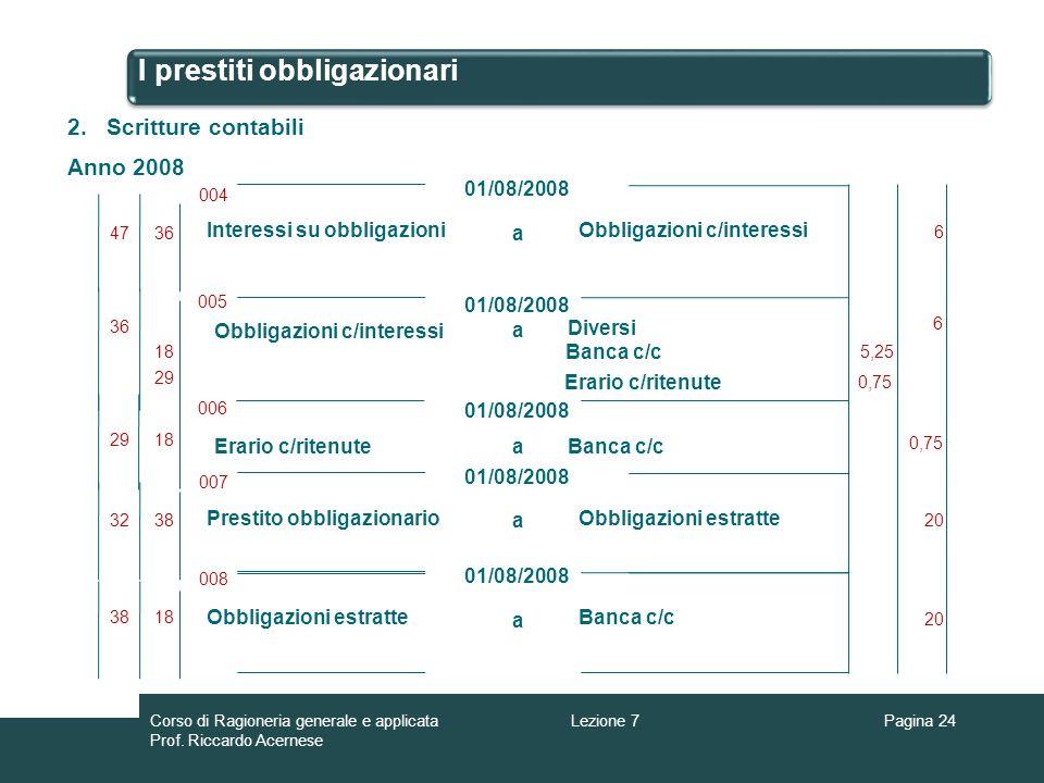 I prestiti obbligazionari Pagina 24 2.Scritture contabili Anno 2008 a Obbligazioni c/interessi 01/08/2008 005 01/08/2008 18 6 Diversi Erario c/ritenut