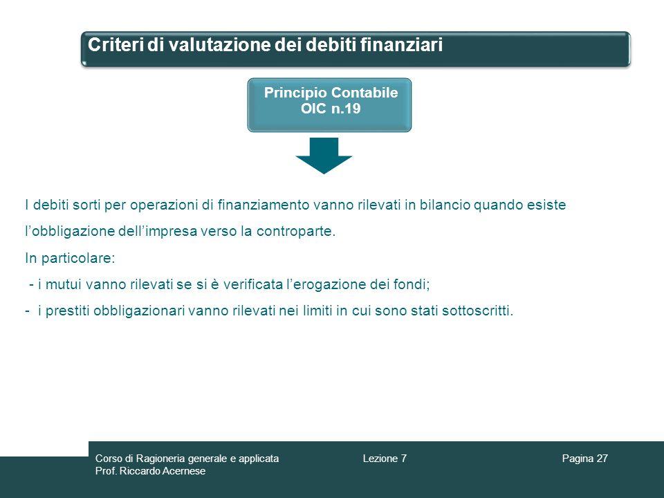 Criteri di valutazione dei debiti finanziari Pagina 27Lezione 7Corso di Ragioneria generale e applicata Prof. Riccardo Acernese Principio Contabile OI