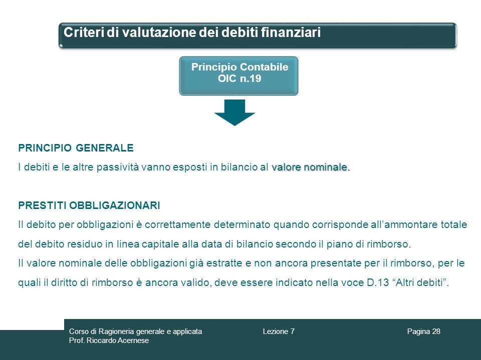 Criteri di valutazione dei debiti finanziari Pagina 28Lezione 7Corso di Ragioneria generale e applicata Prof. Riccardo Acernese Principio Contabile OI