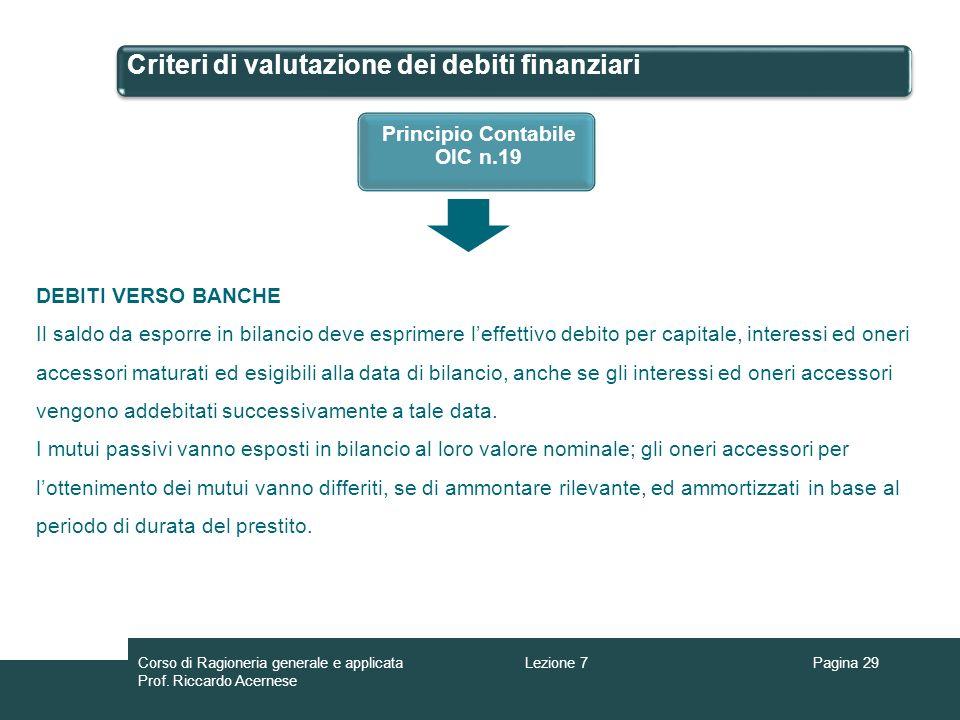 Criteri di valutazione dei debiti finanziari Pagina 29Lezione 7Corso di Ragioneria generale e applicata Prof. Riccardo Acernese Principio Contabile OI
