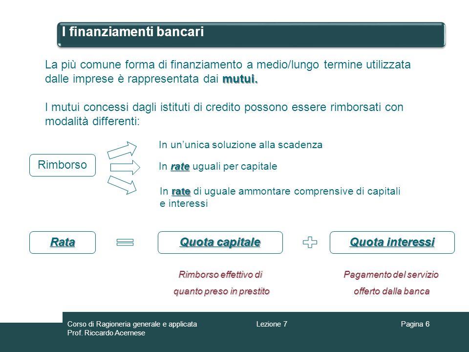I finanziamenti bancari Pagina 7 ESEMPIO: Si ipotizzi laccensione di un mutuo di 1.200 di durata 10 anni rimborsabile con rate semestrali uguali di 89,28 comprensive di capitali e interessi scadenti il 30/06 e il 31/12 di ogni anno.