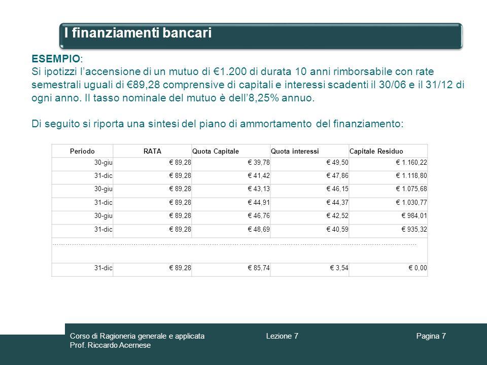 I finanziamenti bancari Pagina 8 ESEMPIO: Le registrazioni contabili connesse alla erogazione e al pagamento delle rate del mutuo sono le seguenti: Banca c/c Interessi passivi 1.200 Mutui passivi 1.200 49,5 1.Erogazione 2.Pagamento della prima rata 49,5 = (1.200 x 8,25% ) / 2 Interesse = Capitale x tasso / periodo Banca c/c 1.200 Mutui passivi 1.200 89,28 39,78 Lezione 7Corso di Ragioneria generale e applicata Prof.