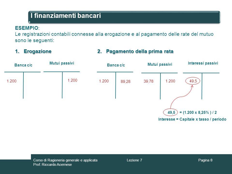 I finanziamenti bancari Pagina 8 ESEMPIO: Le registrazioni contabili connesse alla erogazione e al pagamento delle rate del mutuo sono le seguenti: Ba