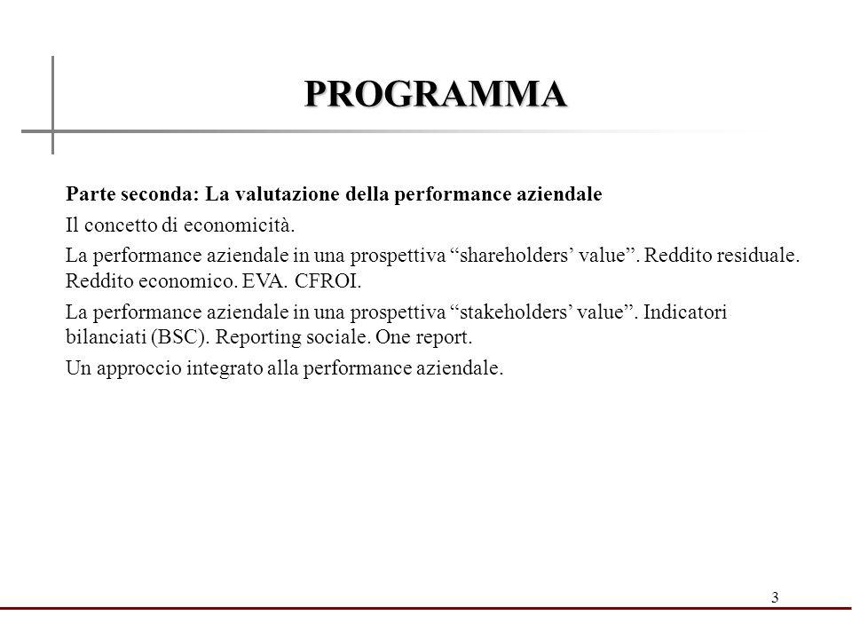 3 PROGRAMMA Parte seconda: La valutazione della performance aziendale Il concetto di economicità. La performance aziendale in una prospettiva sharehol