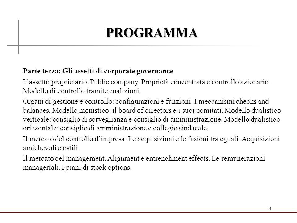 4 PROGRAMMA Parte terza: Gli assetti di corporate governance Lassetto proprietario. Public company. Proprietà concentrata e controllo azionario. Model
